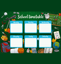 Schedule on whole school week days and stationery vector