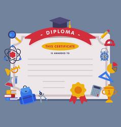 School diploma template appreciation school vector
