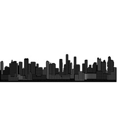 seamless black and white cityscape silhouette vector image