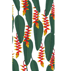 seamless pattern tropical leaves with heliconia vector image