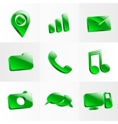 Set glass icons button color symbol vector