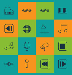 Set of 16 audio icons includes microphone song vector