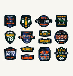 set of emblems and patches in sport style vector image