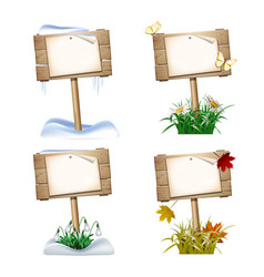 Set of wooden signs in four seasons vector