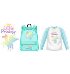 Set unicorn backpack and cap vector