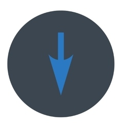 Sharp Down Arrow flat smooth blue colors round vector image