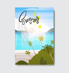 Sweet summer landscape palm tree beach badge vector