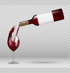 Transparent wine bottle and wineglass mockup vector