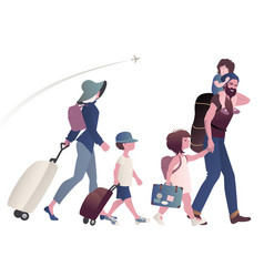 Traveling family with suitcases and backpacks vector
