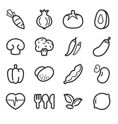 vegetable icons set vector image