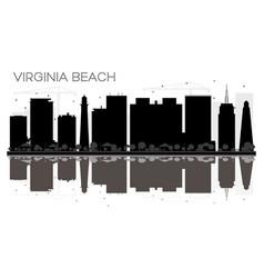 Virginia beach city skyline black and white vector
