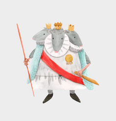 Watercolor mouse rat king from christmas vector