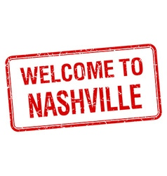 Welcome to Nashville red grunge square stamp vector