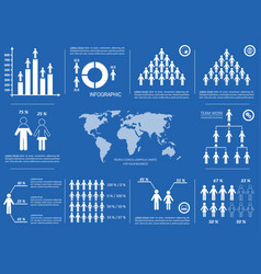 white demographic people and chart icons vector image
