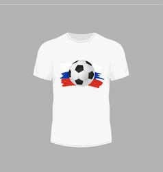 White t-shirt with soccer ball design for ball vector