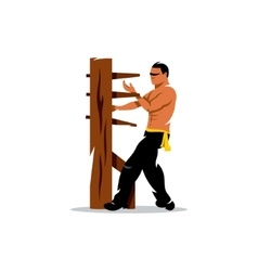 Wing Chun kung fu Man at a wooden dummy vector