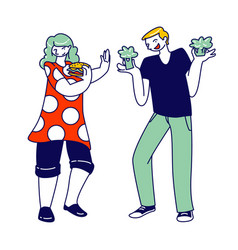 woman holding fast food burger man with broccoli vector image
