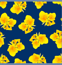 yellow canna lily on navy blue background vector image