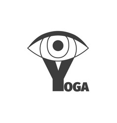 yoga logo design template with eye vector image