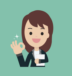 Young businesswoman show ok sign and holding vector