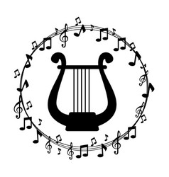 border musical notes with harp instrument musical vector image