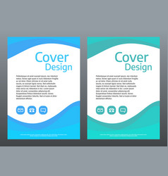 design template for brochure or cover blue and vector image