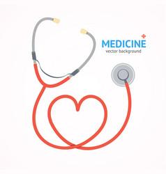 Flat stethoscope medicine healthcare concept vector