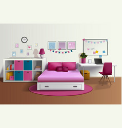 Girl Room Realistic Interior vector image