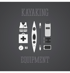 Kayaking equipment icons set Kayak on a grayscale vector image vector image