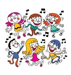 Kids dancing vector image vector image
