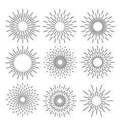 set of sunburst geometric shapes stars and light vector image vector image