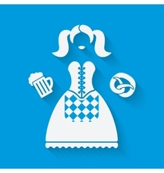 Girl in national dress with beer mug and pretzel vector image vector image