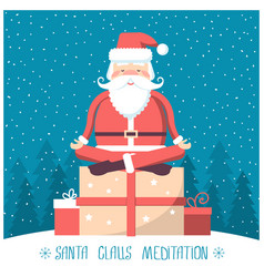 santa meditation and sitting on big present box vector image vector image
