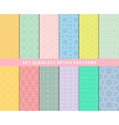 Set seamless retro patterns vector image