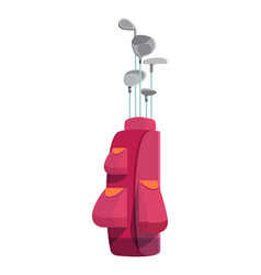 various golf clubs in pink cart bag or case with vector image vector image