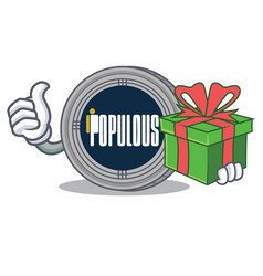 with gift populous coin character cartoon vector image
