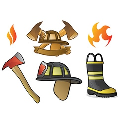 Firefighter Icons and Fire Symbols vector image