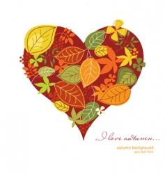 autumn heart vector image vector image