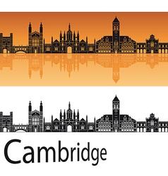 Cambridge skyline in orange background vector image vector image