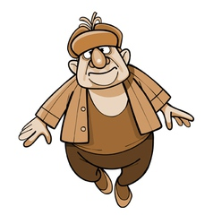 cartoon man in a padded jacket and a fur hat vector image
