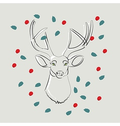 Deer with green eyes with leaves and berries vector image vector image