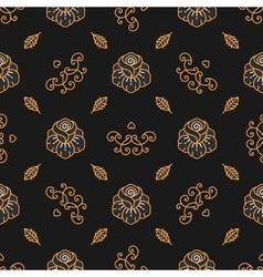 Floral pattern seamless Golden Rose linear icons vector image vector image
