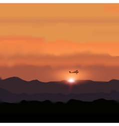 Landscape Mountain with Sunset and flying Plane vector image vector image