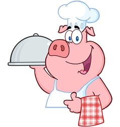 Pig Chef Holding A Platter Sign vector image