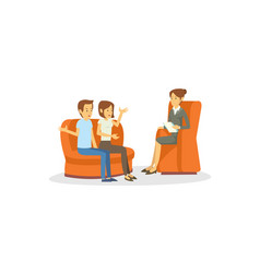 A young couple doing psychologist consultation vector