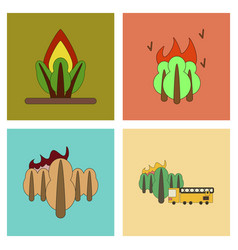 Assembly flat icons natural disasters vector