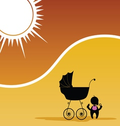 baby and baby stroller color vector image