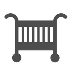 baby cradle bed solid icon baby crib vector image