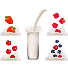Big set with berry with milk and milk vector