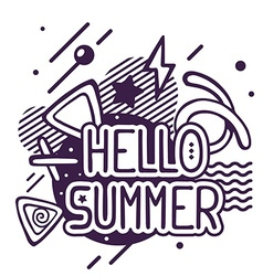 Black and white hello summer quote on abs vector